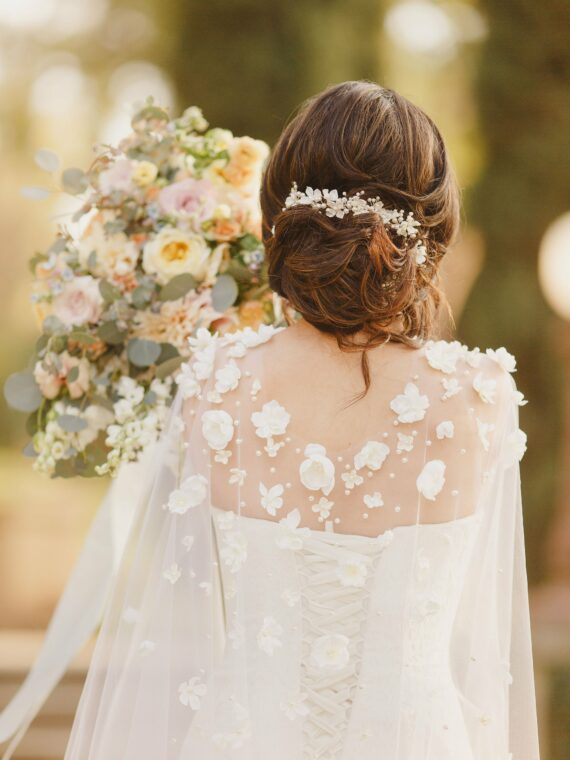 wedding cape, flower veil, bridal dress cape