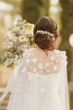 wedding cape, flower veil, bridal dress cape