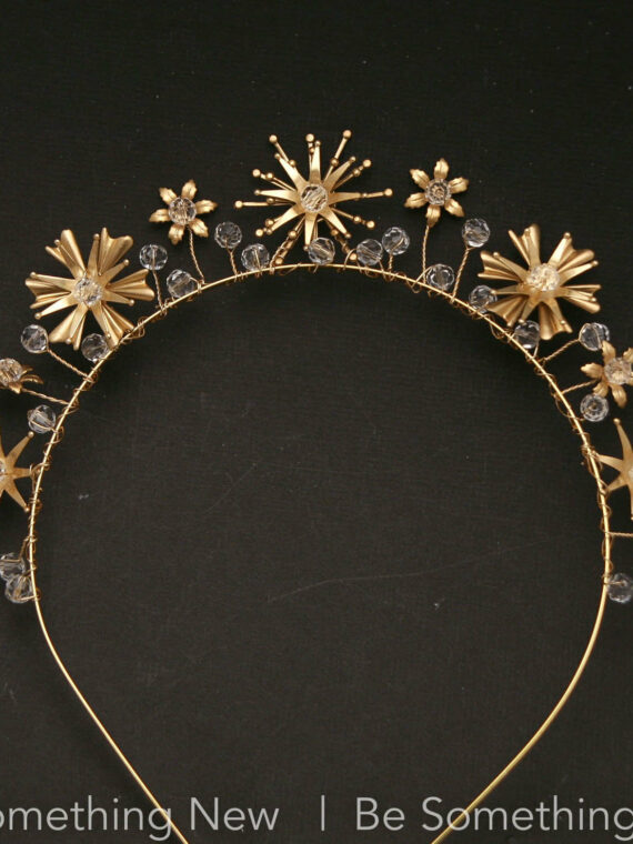 Gold Celestial Wedding Crown Crystals and Stars, Metal Star Headband