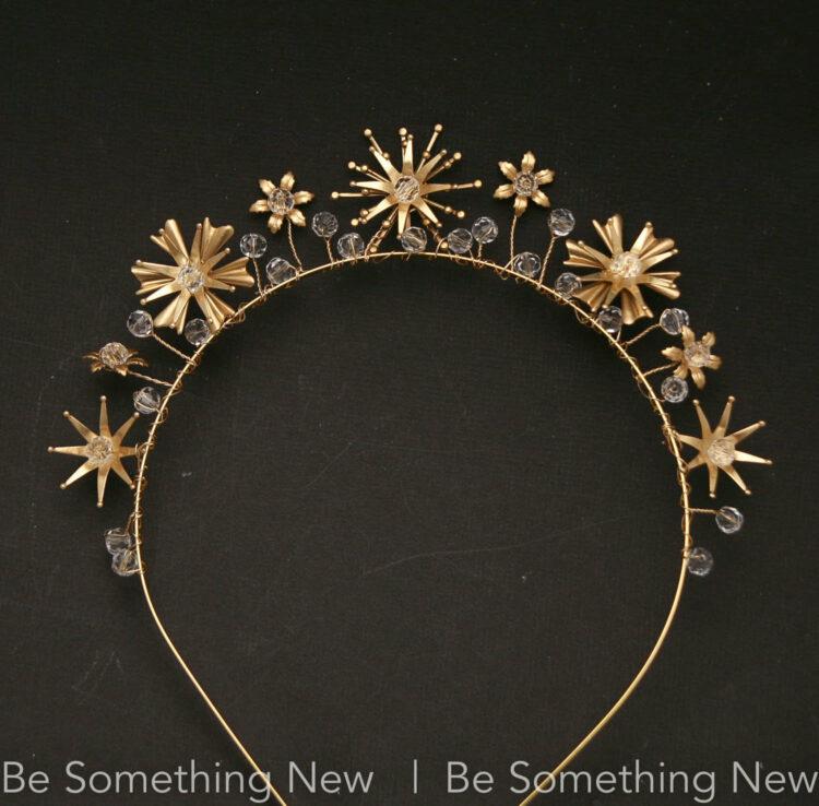 Gold Celestial Wedding Crown Crystals and Stars, Metal Star Headband