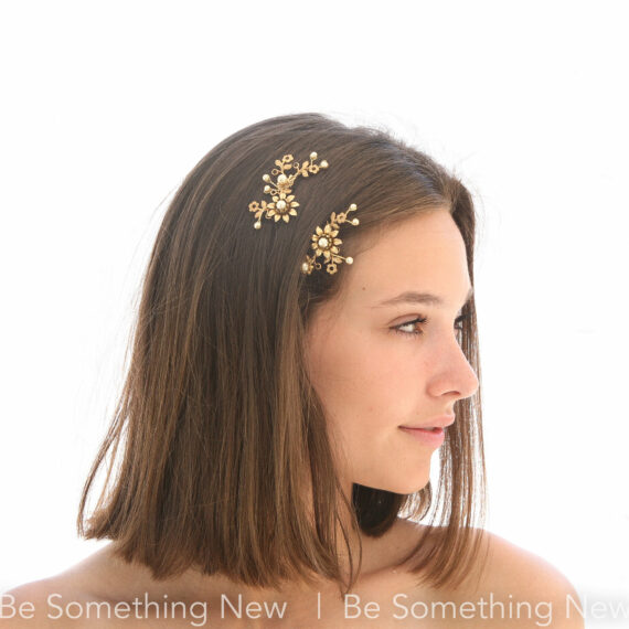 wedding hair pin set in gold