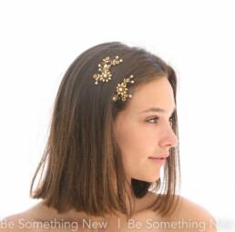 wedding hair pin set in gold