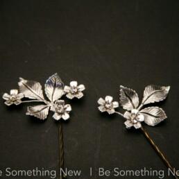 Wedding Hair, hair Pins, Silver Leaves, metal leaves, leaves and flower, Boho Hair Pin set, Floral Bobby Pins, garden wedding, bobby pin set,
