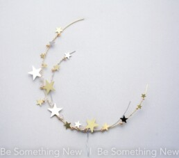 celestial wedding cake topper gold and silver Cresent moon