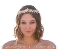 gold wedding tiara ,metal leaves and flowers laurel leaf crown