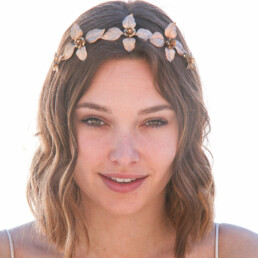 gold metal leaf and flower headband