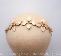 gold metal leaf and flower headband