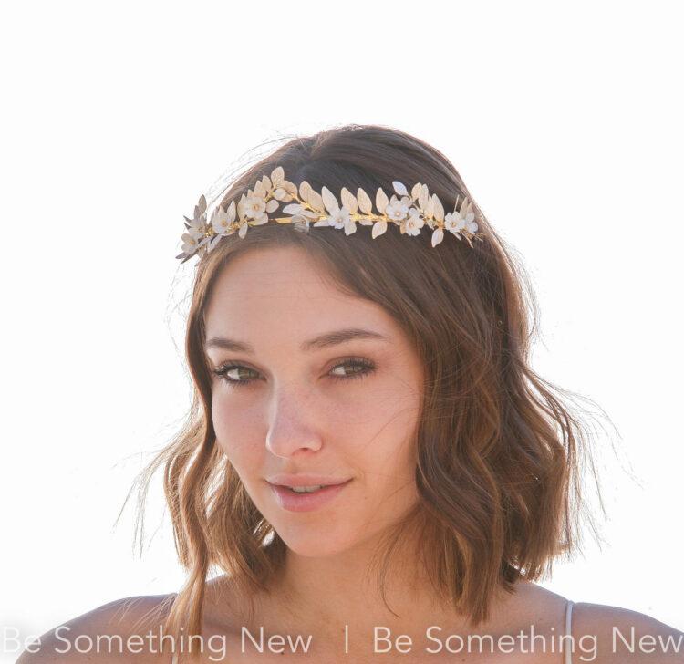 gold and ivory leaf tiara