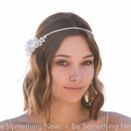 Pearl Headpiece with Vintage Wax Flower Pips and Velvet Flowers, White Flower Crown Pearl Halo with flowers at the side for your wedding day