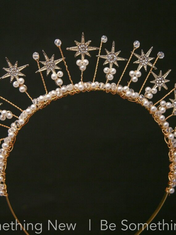 Celestial Wedding Crown of Gold Stars with Rhinestone and Pearls