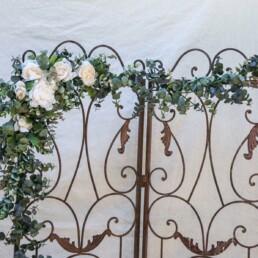 Eucalyptus Garland with Ivory Flowers Wedding Floral wedding arch decoration, Long False Leaves Wedding Backdrop