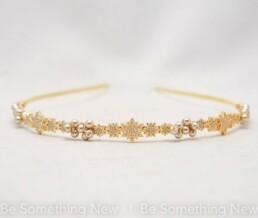 Celestial Stars Gold Headband, Gold Rhinestone Stars and Champagne Pearl Hair Accessory Bridesmaids hair golden metal star headpiece