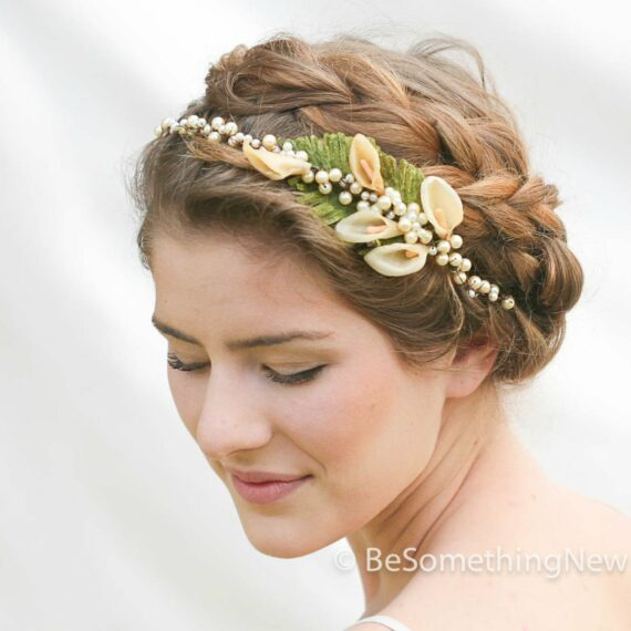 antique Calla Lilly wax flower headpeice vintage wedding headpiece, flower crown