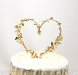 gold heart metal leave wedding cake topper, boho wedding decor leaves and pearl cake top
