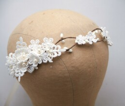boho wedding headpiece vintage lace flower crown with pearls