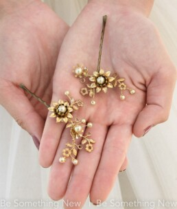 gold hair pins, metal flower bridesmaids hair accessory wedding hair pin set wedding hair