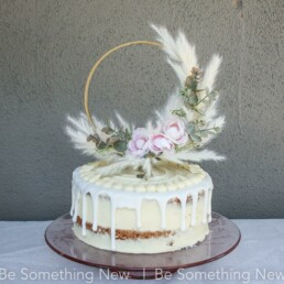 pampas grass wedding Cake Toper in ivory and blush pink eucalyptus floral take topper