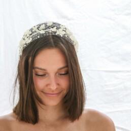 birdcage headband, wedding veil with flowers headband