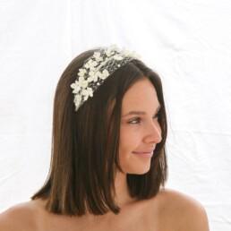 birdcage net headband with flowers and pearls wedding headpiece bridal headband